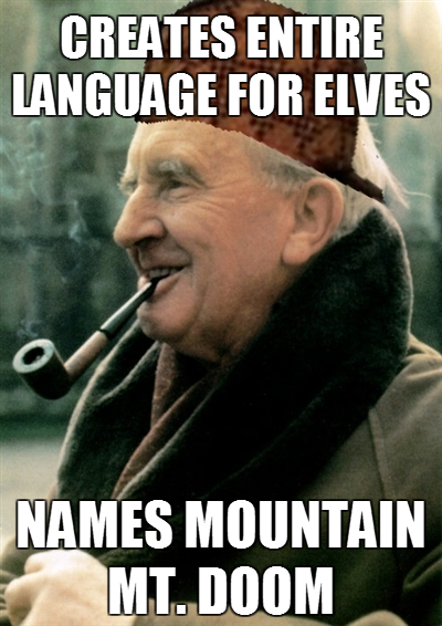 Creates entire Elfin language, names mountain Mt. Doom!